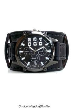 Leather Cuff Watch, Mens Wrist Watch, Leather Men's watch, Leather Cuff, Bracelet Watch, Black