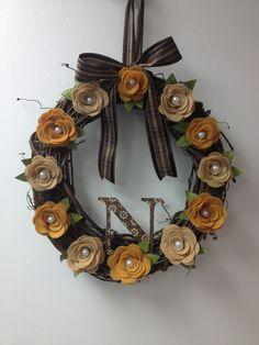 Wreath sizzix die cut grapevine felt pearls fabric paper  pairofpetals.com