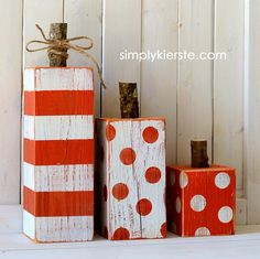 4x4 striped & polka dot pumpkin | simplykierste.com polka dots, christmas presents, halloween pumpkins, painted pumpkins, wood scraps
