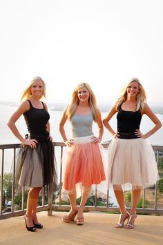 colorful tutu skirts for bridesmaids.  any heel they love + a tank top.  fun for summer!  (tutu skirt by studio wed by mirela)