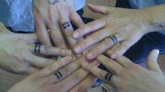 """The story behind this is lovely. """"I got this matching tattoo with my mother, step mother, step brother and sister. We all got it on our ring fingers. It is the equality symbol, standing for marriage equality. We got it at Flatiron Tattoo in Boulder, CO."""""""