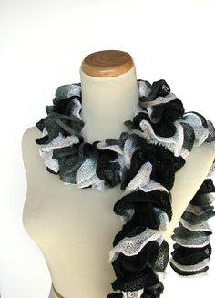 Hand Knit Ruffled Scarf  Black White Gray  Ying by ArlenesBoutique, $33.00