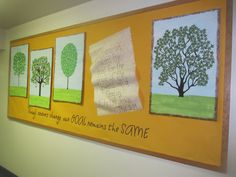 "I created this bulletin board for my church.  It is for the fall season.  As the leaves outside change color, the leaves on these trees will change too!  The saying is ""Though seasons change our GOAL remains the SAME"" and the verse on the ""scroll"" is Phillipians 3:14."