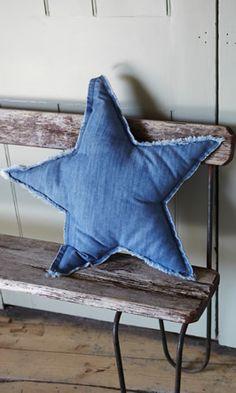 Denim star cushion - Plümo Ltd