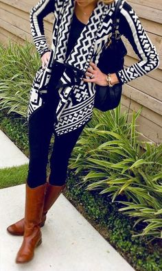Black and White Aztec Cardigan With Long Boots. #fall