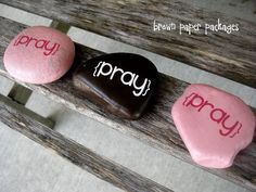 Prayer rocks. Spray painted and done with vinyl lettering. Doing it for Activity Day girls.
