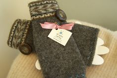 Fingerless Gloves made from recycled lambswool sweater by sbretro, $25.00