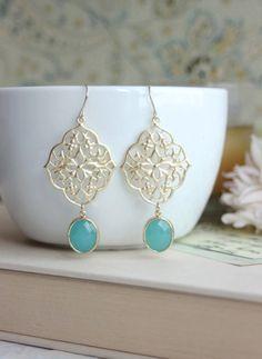 deco filigre, fashion earrings, filigre chandeli, gypsi art, mint gold, bridesmaid, chandelier earrings, art deco, gold earrings