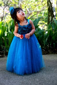 #GB Sparkling Teal Glittered Tutu Dress With Flowers by PoshBabyStore.com