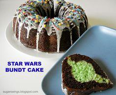 Star Wars Bundt Cake - yoda inside AND light saber sprinkles