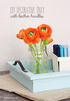 DIY Decorative Tray with leather handles at livelaughrowe.com