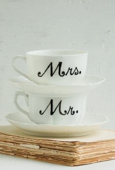Mr. and Mrs. Hand Painted Vintage White China
