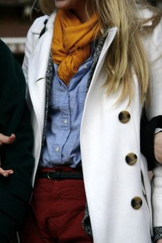 fall outfit idea, up close jacket, style, color combos, button, denim shirts, fall outfits, scarv, coat, red pants
