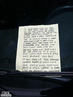 Parking note WIN.