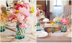 romantic wedding centerpieces pink peonies mason jars