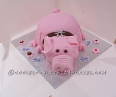 Coolest Pig Cake For My Friend Who Kept Pigs... This website is the Pinterest of birthday cake ideas coolest pig, cake idea, piggi cake, pig cake, birthday cakes