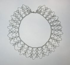 Lacy crocheted silver wire necklace by LoopyMagpie on Etsy, $75.00