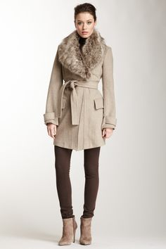 Belted Faux Fur Shawl Collar Wool Blend Coat
