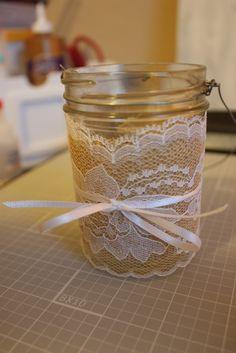 burlap mason jars - for favors or table decorations