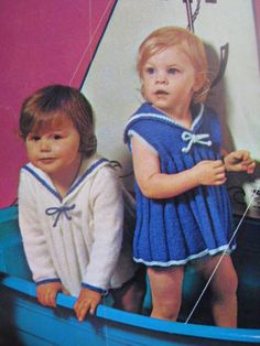 1960's vintage baby sailor knitting pattern