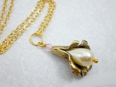 Antique Gold Flower Pearl Pendant Necklace, White Pearl Necklace, Gold Tulip Pendant, Wedding Pearl Necklace, Bridal Pearl Necklace on Etsy, $68.90