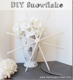 Make this lovely white snowflake with leftover yarn!