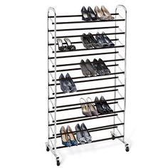 Chrome 10-Tier Rolling Shoe Rack for those who have the shoes and the wall space to make this work!