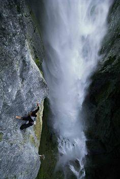 Climber Annatina Schultz climbing The Fall on Klettern in Meiringen, Switzerland