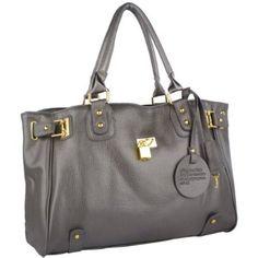 LUCCA Silver Gray Glamour Padlock Designer Inspired Shopper Hobo Tote Bag Purse Satchel Handbag w/Shoulder Strap