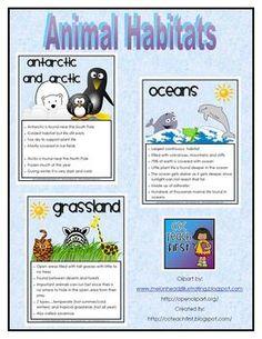 Animal Habitat Facts Sheets includes the following habitats....desert, grasslands, oceans, ponds and wetlands, antarctic and arctic, oceans, rain f...