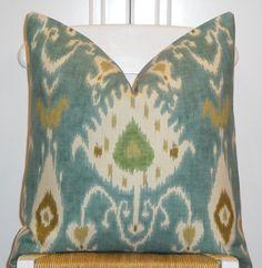 $48 Decorative Pillow Cover 20 x 20 - IKAT - Throw Pillow - Accent Pillow - Kravet - Aqua - Green - Tan
