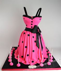 Sweet sixteen hot pink polka dots dress cake by Design Cakes, via Flickr