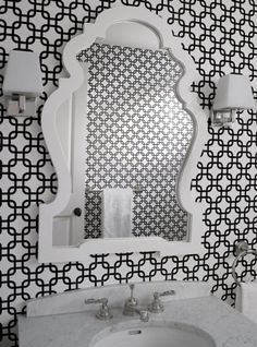 Geometric pattern - wallpaper, mirror, sconces