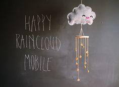 DIY happy rain cloud mobile clouds, happi raincloud, baby projects, mobiles, raincloud mobil, diy happi, diy craft, babi, rain cloud