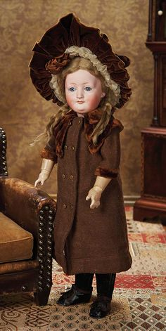 Very Rare German Bisque Art Character,192,by Kestner in Fine Antique Costume. Circa 1910. http://Theriaults.com