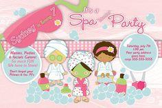 Spa Pajama Party slumber party Birthday Invitation - DIY Print Your Own Invitation