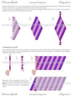 Tutorial per realizzare orecchini e fermaglio per capelli in peyote con disegno diagonale