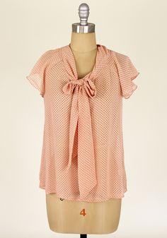 Smitten Kitten Tie Blouse in Peach