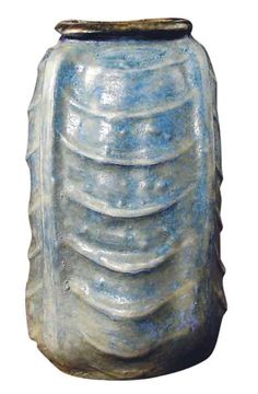 "Martin Brothers Pottery - Edwin Bruce Martin (1860-1915) - Ribbed Gourd Vase. Modelled, Incised & Glazed Stoneware. Southall, Middlesex, England. Circa 1898. 8-3/4""."