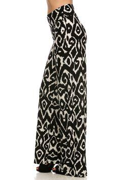 high waisted patterned pants | Printed High Waist Palazzo Pants.