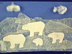 Polar Bear art using waxed paper overlays bear themed classroom, winter pictures, polar bears, bear art, collag, arctic theme classroom, arctic animal crafts, anim scene, wax paper