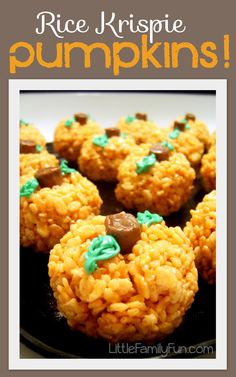 Little Family Fun: Rice Krispie Pumpkins