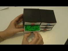 """Video - Rainbow Loom Bracelet Elastic Storage Viewer Request! Tiny Paper Chest of Drawers - also perfect for an 18"""" doll (American Girl Dolls) Origami Twist - YouTube"""