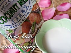 COCONUT MILK HAIR CONDITIONER: Soak hair with straight coconut milk for 1 hr (cover hair w/shower cap). THEN shampoo & condition.  Use leftover coconut milk on hands/skin - leaves slightly oily feeling, but excellent for skin!
