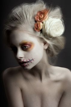 Gorgeous Halloween zombie look!  I would add some more detail and depth to the mouth and eyes -- but I LOVE it! Especially the hair!