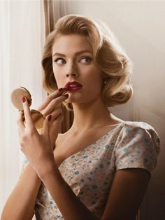 Mad men makeup, and I want that hair. Ok, I want to be Betty Draper, minus the crazy and the thyroid issues.