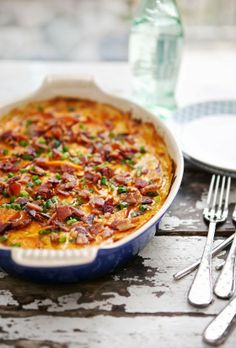 Bacon. Cream. Cheese (lots), Sweet Potatoes. All baked up on a BIG casserole. Ready for you when you are ready for it.
