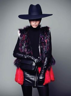 YETI by Jose Herrera - wide-brim tall-crown fedora, fur vest, leather gloves - pinned by RokStarroad.com ~ unleash your inner RokStar - fashion, pop and mental health