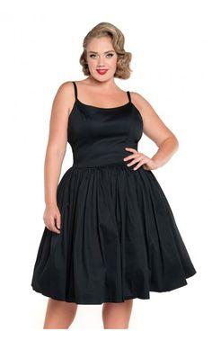 Jenny Dress in Black Sateen... plus size