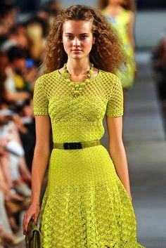 Oscar de la Renta yellow crochet dress